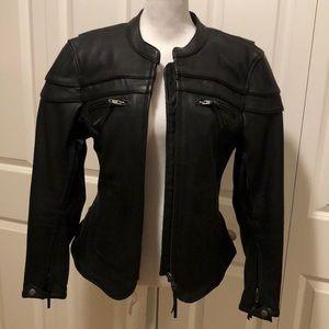 NWOT $560 leather motorcycle jacket (warm)
